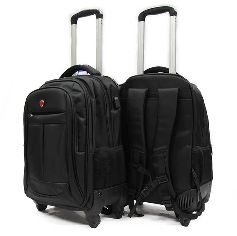 Weaving Laptop Trolley Backpack with Spinner Wheels and External USB Port - Luggage Outlet