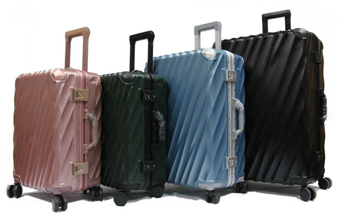 Wavy Polycarbonate Aluminium Frame Luggage with TSA Locks