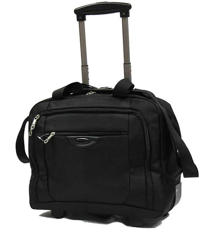 Professional Rolling Laptop Trolley Briefcase Black - Luggage Outlet
