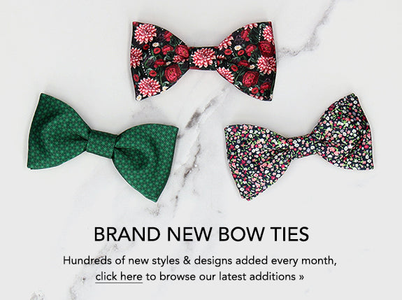Mens New Classic Floral Pattern Bow Tie Print Cotton Black Tie for Men
