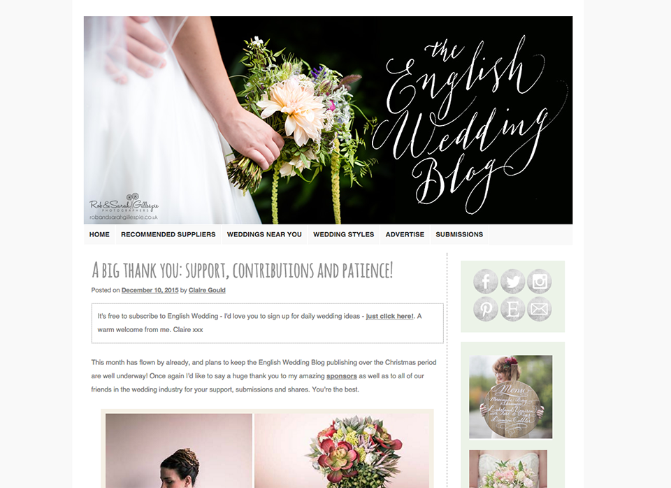 Mrs bow tie top 30 wedding blogs 2016 the english wedding blog is dedicated to showcasing creative weddings across the british isles providing ideas and real weddings to inspire upcoming brides junglespirit Image collections