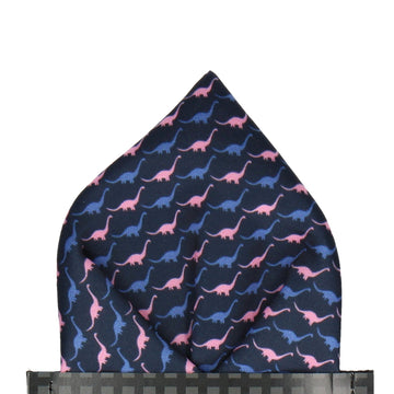 Brontos in Blue & Pink Pocket Square