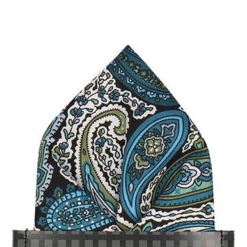 Teal Traditional Paisley Pocket Square