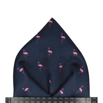 Flamingos in Navy Pocket Square