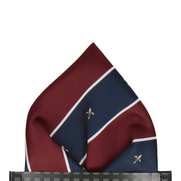Striped Fleur de Lis Burgundy Red Pocket Square