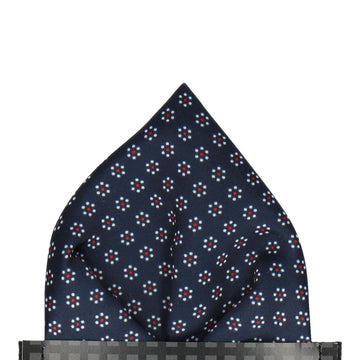 Navy & White Polka Floral Pocket Square