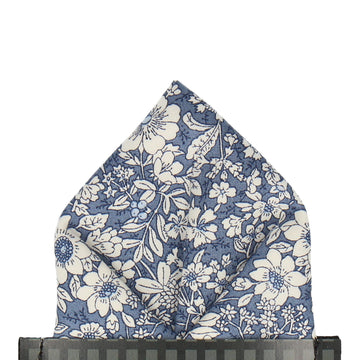Copen Blue Floral Cotton Pocket Square
