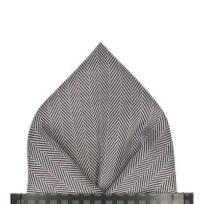 Herringbone in Monochrome Pocket Square