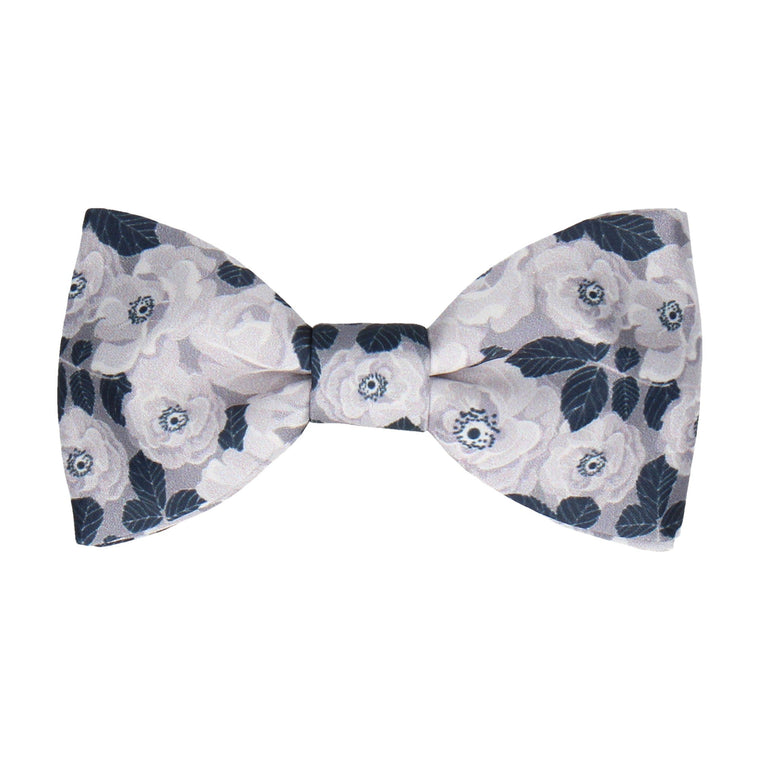 White & Silver Floral Navy Blue Bow Tie