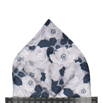 White & Silver Floral Navy Blue Pocket Square