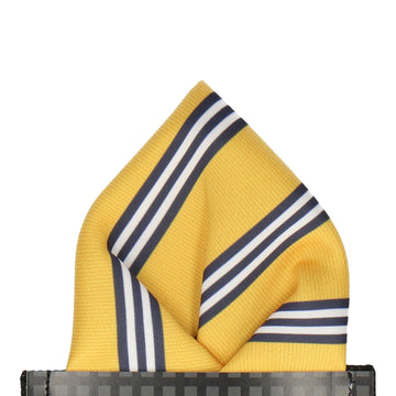 Yellow & Navy Double Stripe Pocket Square