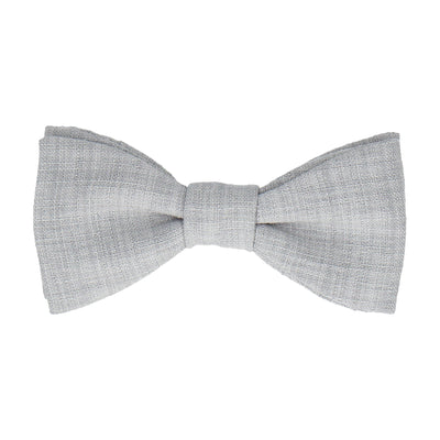 Pale Grey Textured Cotton Linen Bow Tie