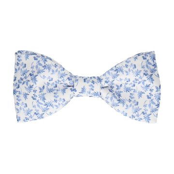 Gentle Blue Floral White Bow Tie