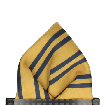 Gold & Navy Double Stripe Pocket Square
