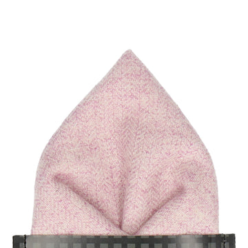 Herringbone Pale Pink Woollen Pocket Square