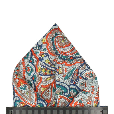 Teal & Orange Paisley Tessa Liberty Cotton Pocket Square