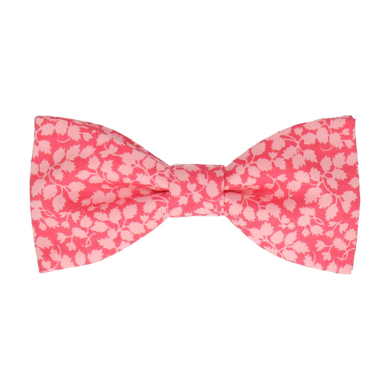 Coral Pink Floral Glenjade Liberty Cotton Bow Tie