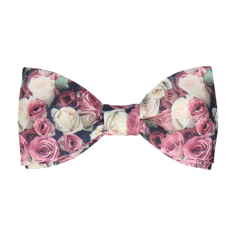 Pink Blossom Photographic Roses Bow Tie
