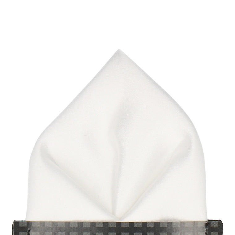 Solid Plain White Satin Pocket Square