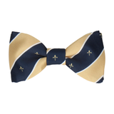 Striped Fleur de Lis Soft Gold Bow Tie