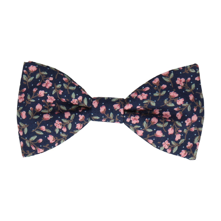 Navy Blue & Pink Ditsy Floral Bow Tie