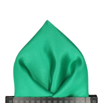 Plain Solid Emerald Green Satin Pocket Square
