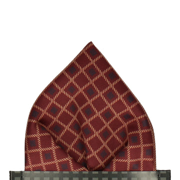 Dark Red Cross Weave Print Pocket Square