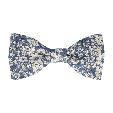 Copen Blue Floral Cotton Bow Tie