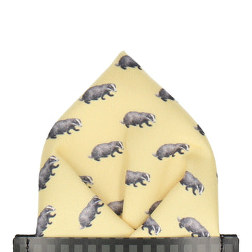 Badgers in Lemon Pocket Square