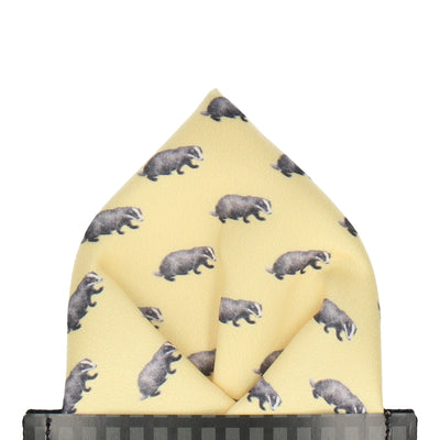 Lemon Yellow Badgers Pocket Square