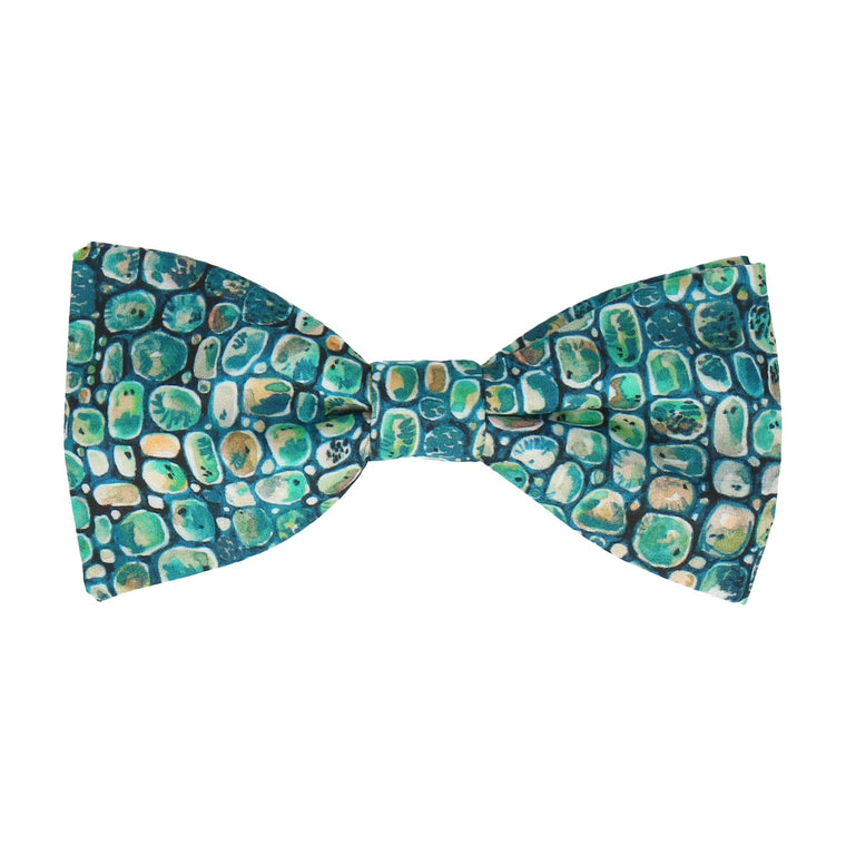 Jade Green Pebbles Morris Liberty Cotton Bow Tie