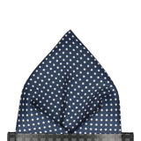 Navy Blue Pin Dots Pocket Square