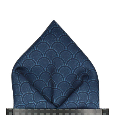 Navy Blue Wedding Fans Pocket Square