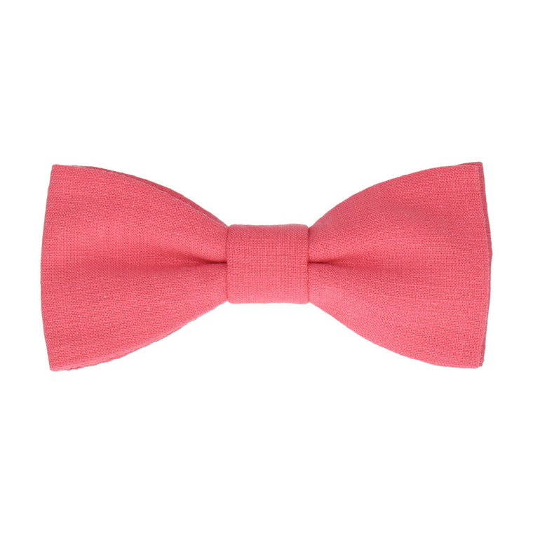 Salmon Pink Plain Textured Cotton Bow Tie