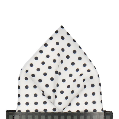 Black Dots in White Pocket Square