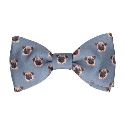 Pug Faces in Steel Blue Bow Tie
