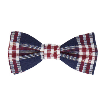 Navy Blue & Red Check Bow Tie