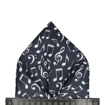 Music Notes Black Pocket Square
