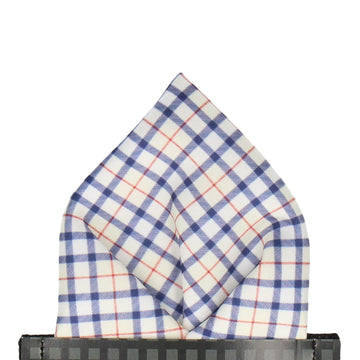 Blue & Cream Check Plaid Print Pocket Square