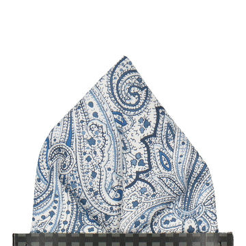 Blue & White Paisley Leibnitz Liberty Pocket Square