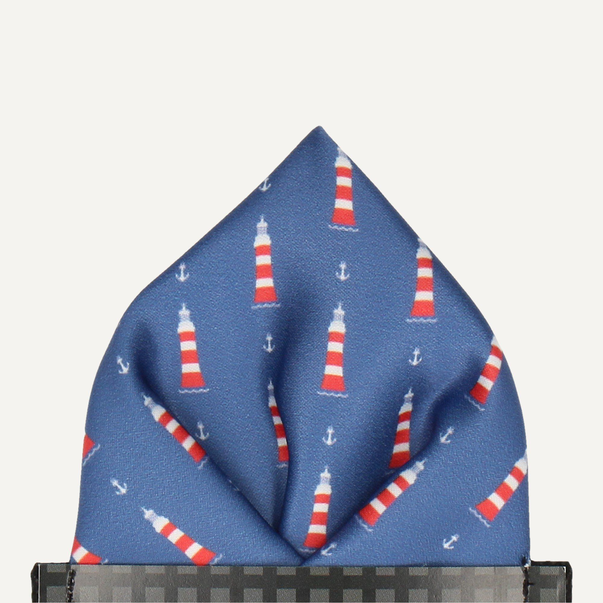 Lighthouses in Blue Pocket Square