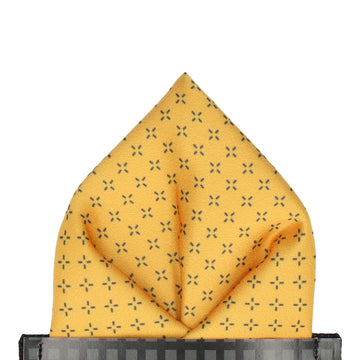 Yellow Cross Pattern Pocket Square