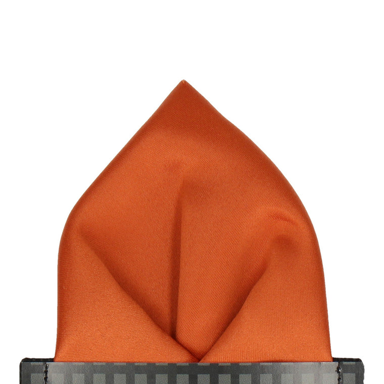 Plain Solid Copper Orange Satin Pocket Square