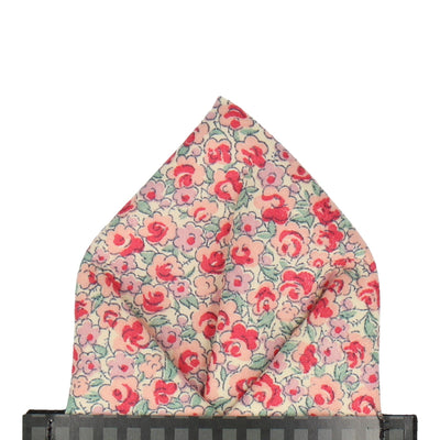 Salmon Pink Floral Pocket Square