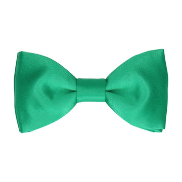 Plain Solid Emerald Green Satin Bow Tie
