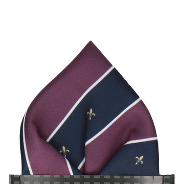 Striped Fleur de Lis Purple Pocket Square
