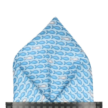 Blue Aquatic Fish Print Pocket Square