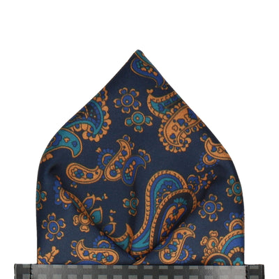 Navy & Orange Stylish Paisley Pocket Square