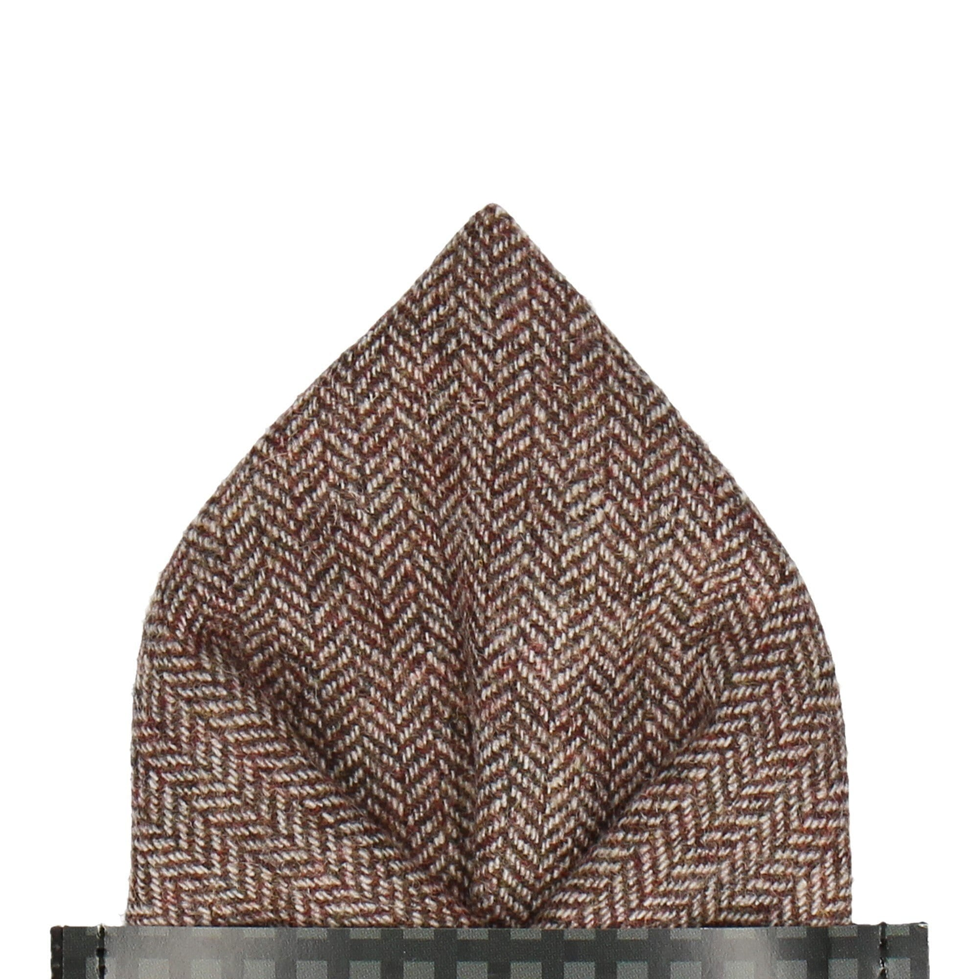 Faux Tweed in Brown Pocket Square