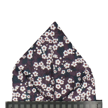 Dark Purple Small Flower Mitsi Valeria Liberty Pocket Square